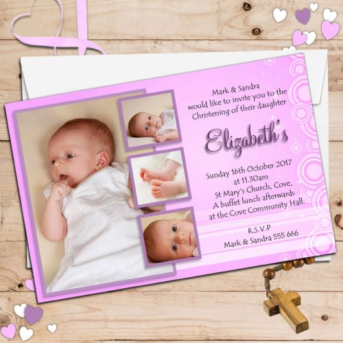 10 Personalised Christening Baptism Photo Invitations N37